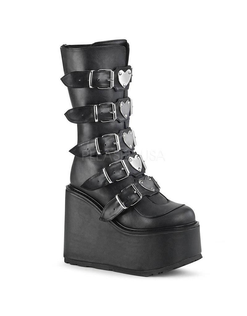 "DEMONIA SWING-230 5 1/2"" Platform Black Vegan Leather Boot, 5 Buckle Straps w/ Heart Shaped Metal Plates, Back Metal Zip Closure D26VBH"