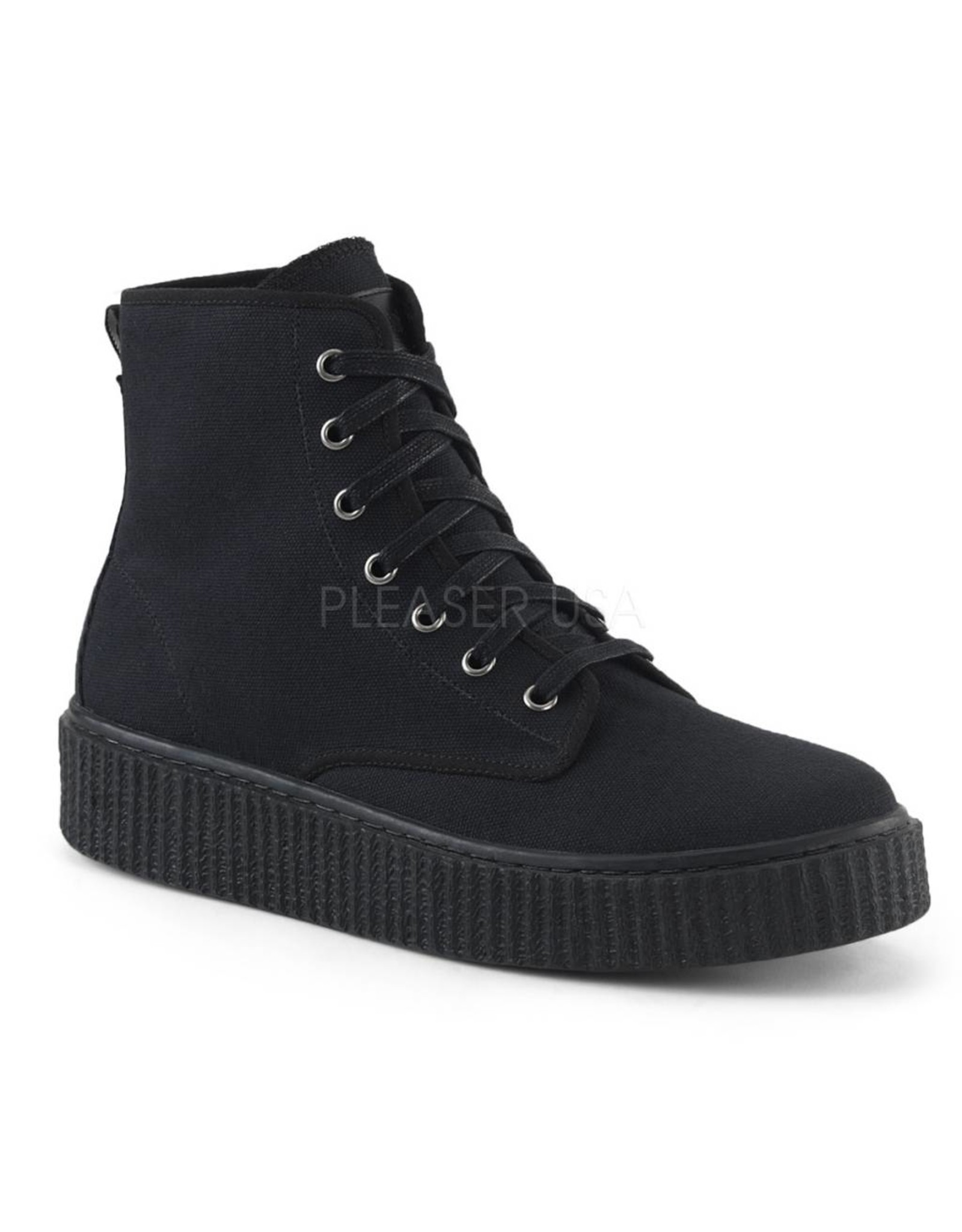 "DEMONIA SNEEKER-201 1 1/2"" Platform Creeper Sneaker, Full Inside Metal Zipper Closure D28BC"