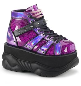 "DEMONIA NEPTUNE-100 3"" Platform Purple Glitter-Hologram Shoe Contrast Piping, Studded Contrast Hook N' Loop Ankle Strap & UV Reactive Tubbing D29PGH"