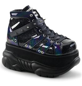 "DEMONIA NEPTUNE-100 3"" Platform Blk Glitter-Silver/Vegan Leather Shoe Hook N' Loop Ankle Strap w/ UV Reactive Tubbing  D29VBG"