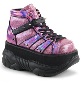 "DEMONIA NEPTUNE-100 3"" Platform Pink Glitter-Silver/Vegan Leather Shoe, Hook N' Loop Ankle Strap w/ Cone Studs and UV Reactive Tubbing D29VPG"