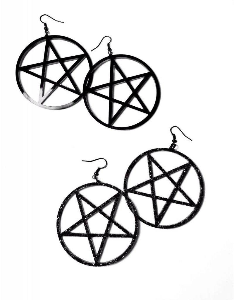 CURIOLOGY - Large Pentacle Earrings/Black Inverted