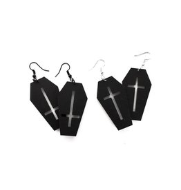 CURIOLOGY - Coffin Earrings With Cross. Black Standard