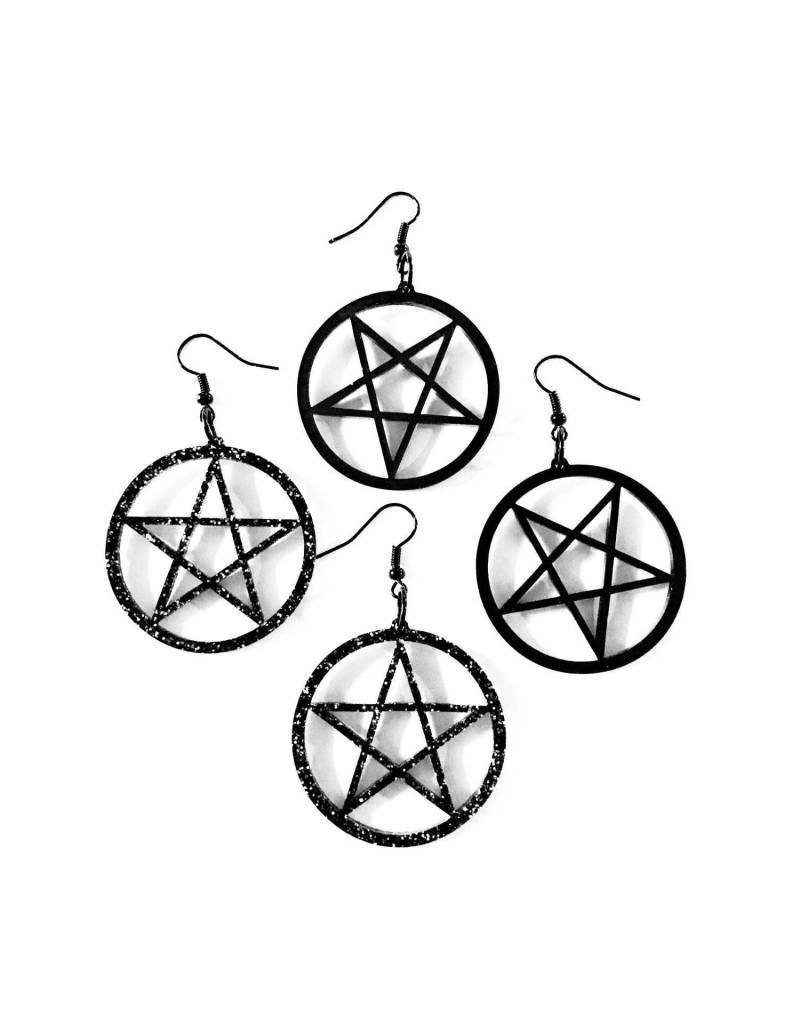 CURIOLOGY - Small Pentacle Earrings/Black Standard