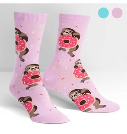 SOCK IT TO ME - Women's Snackin' Sloth (light purple) Crew Socks