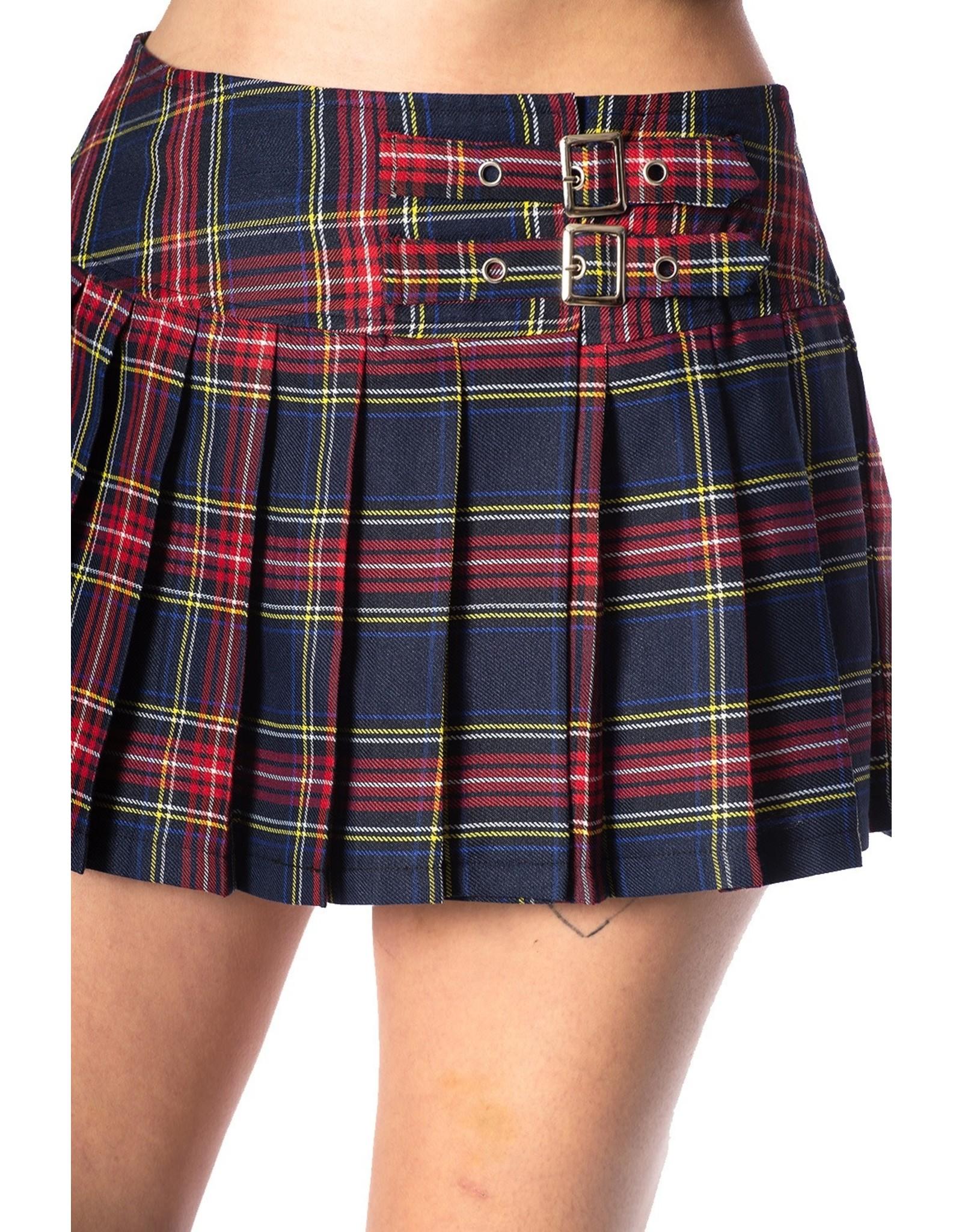 BANNED - Navy Checkered Mini Skirt