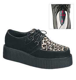 "DEMONIA CREEPER-400 2"" P/F Blk Suede-Cheetah Fur D2LEO"