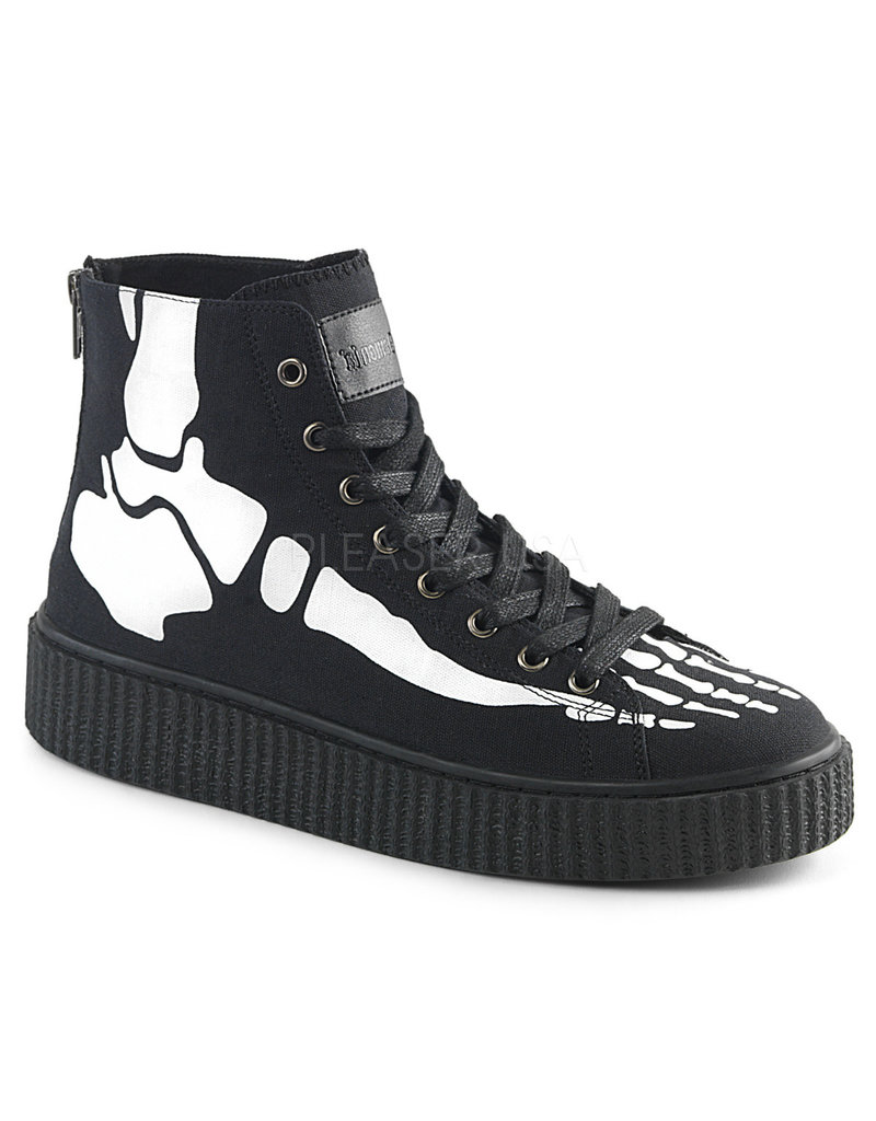 "DEMONIA SNEEKER-252 1 1/2"" Platform High Top Round Toe Lace-Up Front Creeper Sneaker Xray Bone Print, Back Metal Zipper D15BP"
