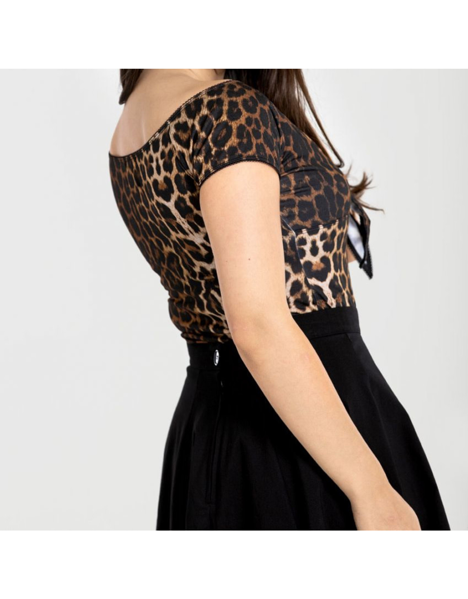 HELL BUNNY - Feline Top Black/Leopard