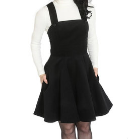 HELL BUNNY - Wonders Years Black Pinafore Dress