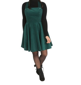 HELL BUNNY - Wonders Years Dark Green Pinafore Dress