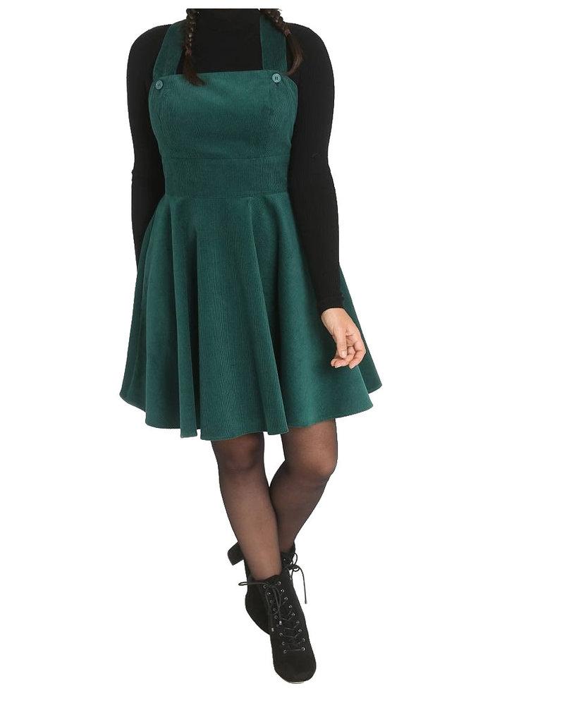 HELL BUNNY - Wonders Years Dark Green Pinafore Dress