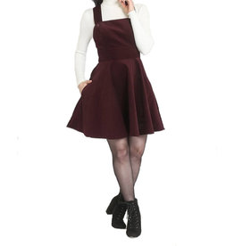 HELL BUNNY - Wonders Years Wine Pinafore Dress