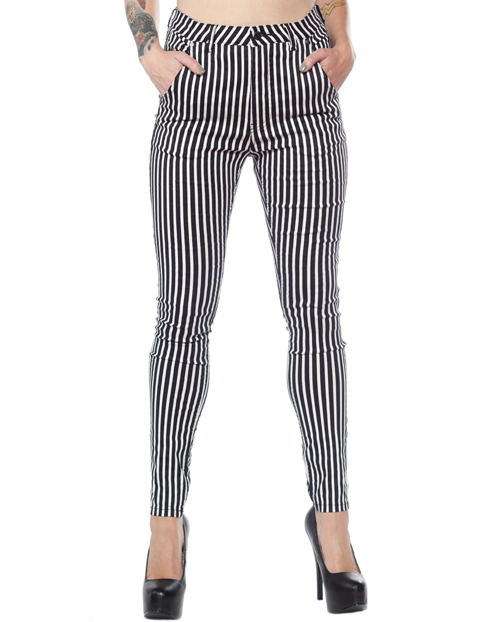 SOURPUSS - Essential 5 pocket Striped B/W Pants