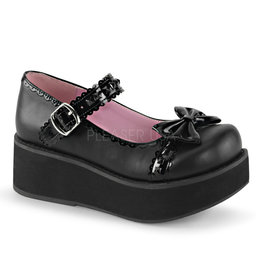 "DEMONIA SPRITE-04 2 1/4"" Platform Black Vegan Leather Mary Jane, Scalloped Straps + Black Pyramid Studs + Bow D34BVM"