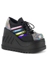 "DEMONIA STOMP-08 4 3/4"" Wedge Platform Black Multi Hologram Lace-Up Front Oxford Shoe D32BMH"