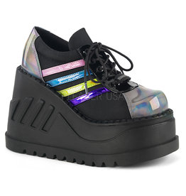 "DEMONIA STOMP-08 4 3/4"" Wedge Platform Black Multi Hologram Lace-Up Front Oxford Shoe D32BMH"