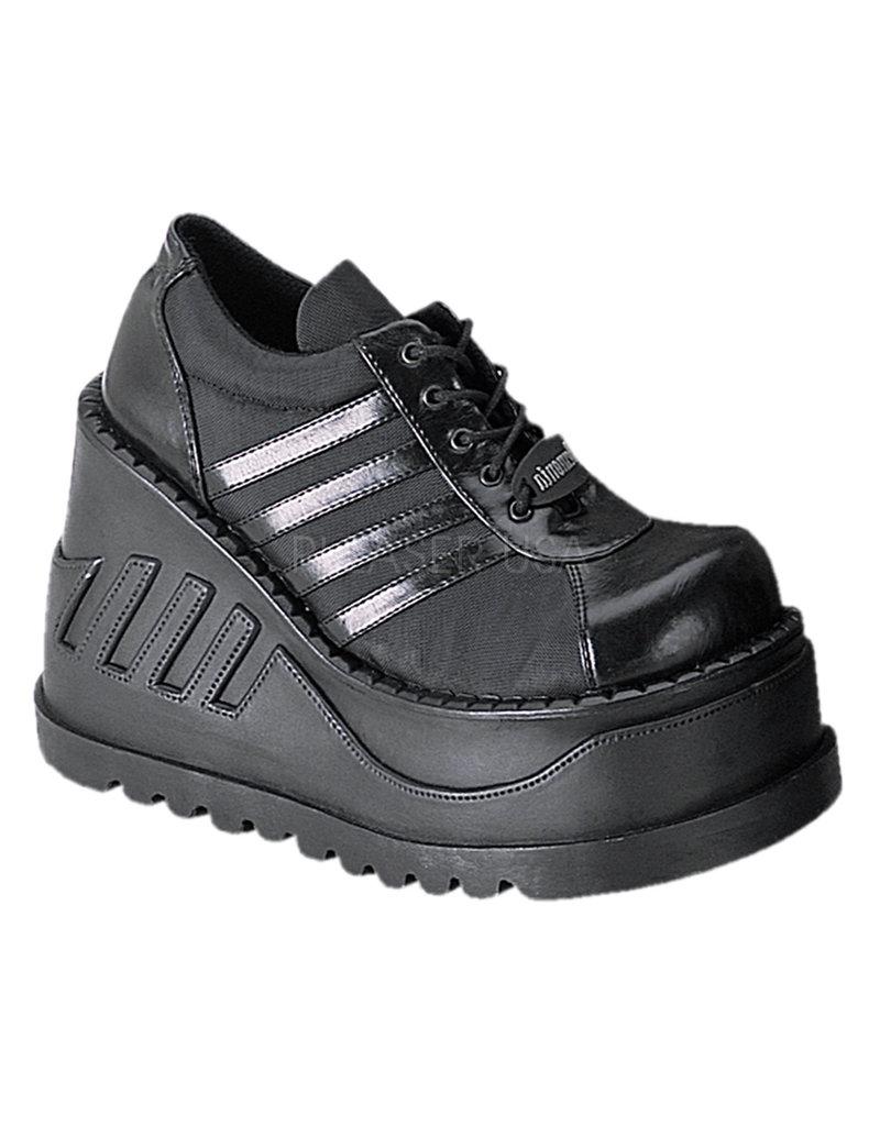 "DEMONIA STOMP-08 4 3/4"" Wedge Platform Black Vegan Leather Lace-Up Front Oxford Shoe D32BVS"