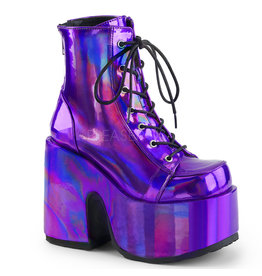 "DEMONIA CAMEL-203 5"" Chunky Heel, 3"" Platform Vegan Purple Hologram Lace-Up Ankle Boot, Back Zip Closure D23VPH"