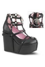 "DEMONIA POISON-25-1 5"" Wedge Platform Black Vegan Leather Cage Bootie + Studding, Multi-Sized O-Rings & Pentagram Charm D34BVC"