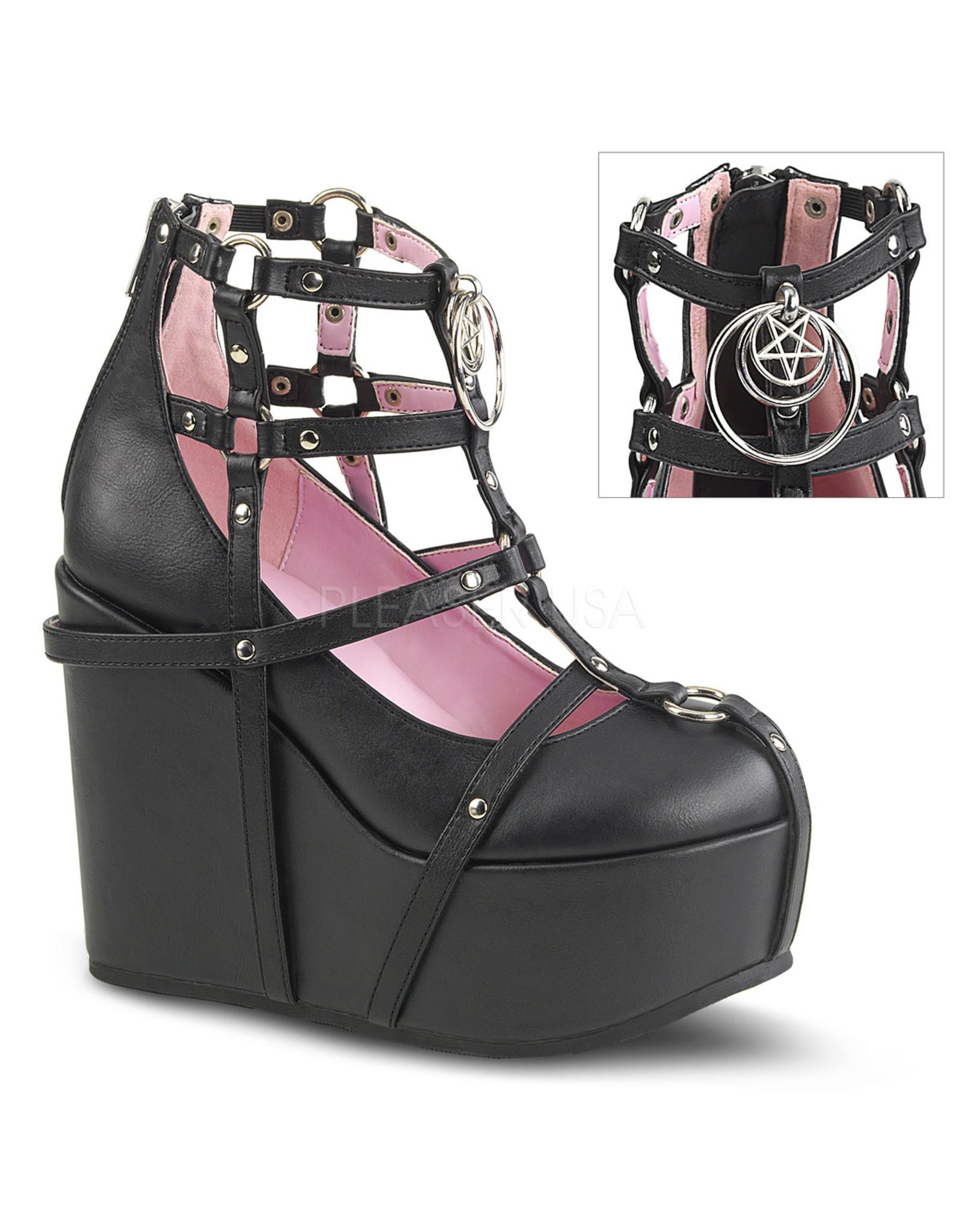 "DEMONIA POISON-25-1 5"" Wedge Platform Black Vegan Leather Cage Bootie + Studding, Multi-Sized O-Rings & Pentagram Charm D34BVC"