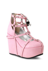 "DEMONIA POISON-25-2 5"" Wedge Platform Pink Vegan Leather Cage Bootie + Heart Studding, O-Rings & Heart-Shaped Locket D34PVC"
