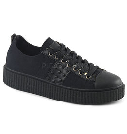 "DEMONIA SNEEKER-107 1 1/2"" Platform Black Canvas Low Top Ornamental Zipper Lace-Up Creeper Sneaker w/ Flat Stud Details D36BCS"