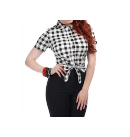 COLLECTIF - Sammy Vintage Gingham Tie Blouse