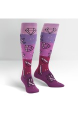 SOCK IT TO ME - Women's Crystal Heel-ing Knee High Funky Socks