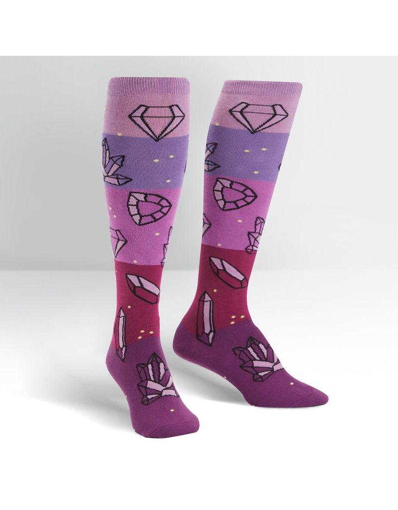 - Women's Crystal Heel-ing Knee High Funky Socks