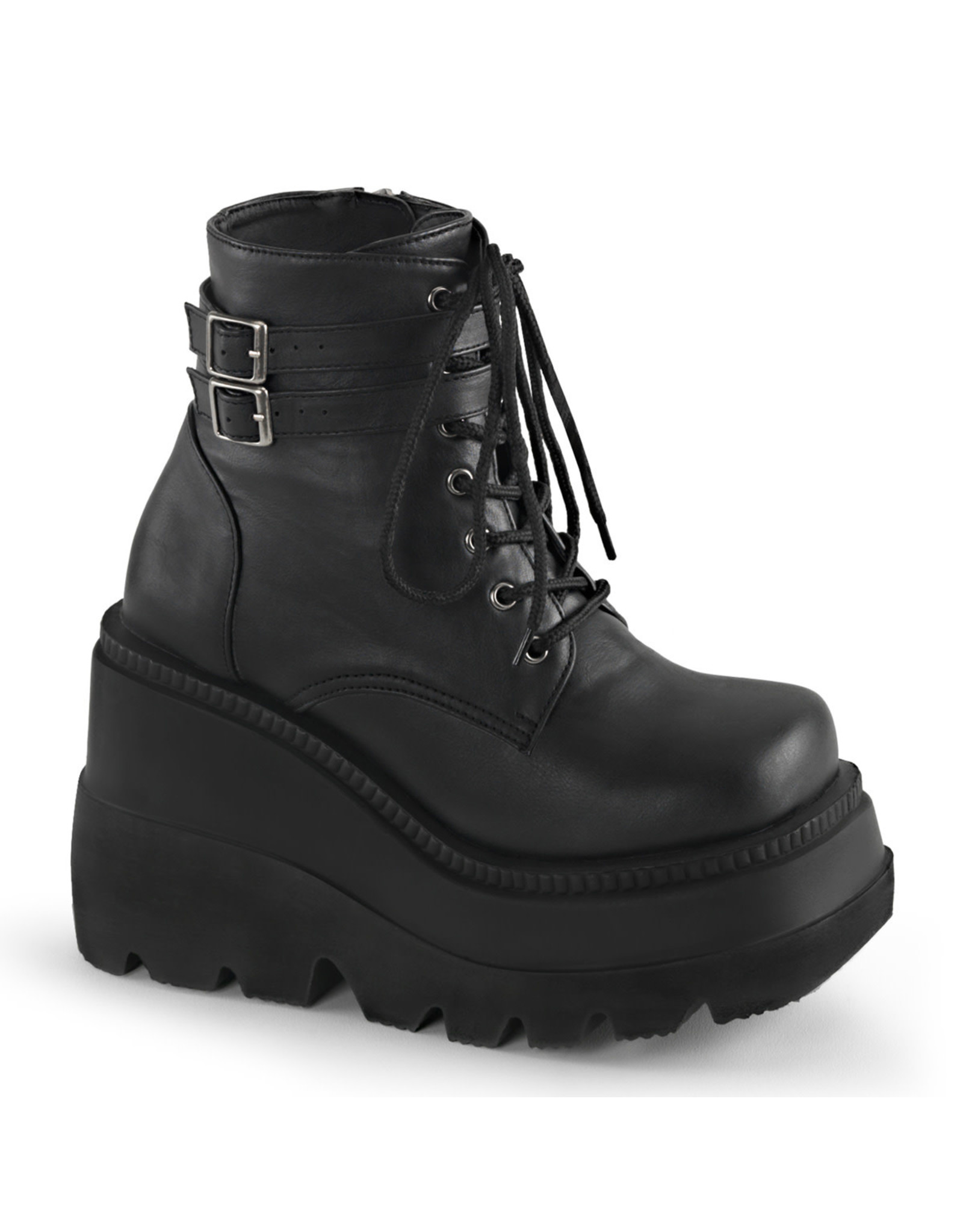 """DEMONIA SHAKER-52 4 1/2"""" Stacked Wedge PF Lace-Up Ankle Boot w/Buckle Straps D38VB"""