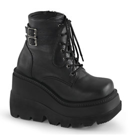 "DEMONIA SHAKER-52 4 1/2"" Stacked Wedge PF Lace-Up Ankle Boot w/Buckle Straps D38VB"