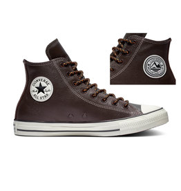 CONVERSE CHUCK TAYLOR ALL STAR HI LEATHER VELVET BROWN/CAMPFIRE ORANGE CC19VEC-165958C