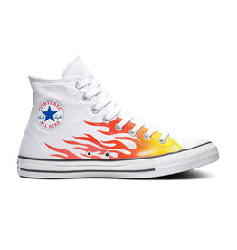 CONVERSE CHUCK TAYLOR ALL STAR HI WHITE/ENAMEL RED/FRESH YELLOW C19FLAW-166257C
