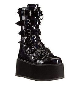 "DEMONIA DAMNED-225 3 1/2"" Platform Black Hologram Vegan Leather Boot,6 Cone-Studded Buckle Straps, Inside Metal Zip Closure D24HPB"