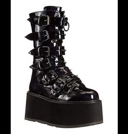 "DEMONIA DAMNED-225 3 1/2"" Platform Black Hologram Vegan Leather Boot,6 Cone-Studded Buckle Straps, Inside Metal Zip Closure D24HPB"