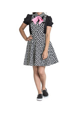 HELL BUNNY - Pokerface Pinafore Black/White Dress