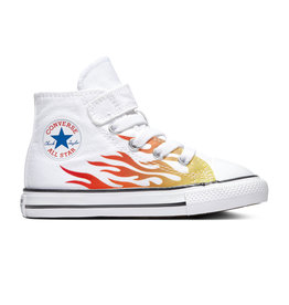 CONVERSE CHUCK TAYLOR ALL STAR 1V HI WHITE/ENAMEL RED/FRESH YELLOW CKFLAW-766198C