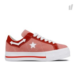 CONVERSE ONE STAR PLATFORM OX SUEDE PINK ICING/TOMATO C987PI-563730C