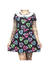 TOO FAST - Creepy Candy Heart A-Line Collar Mini Dress