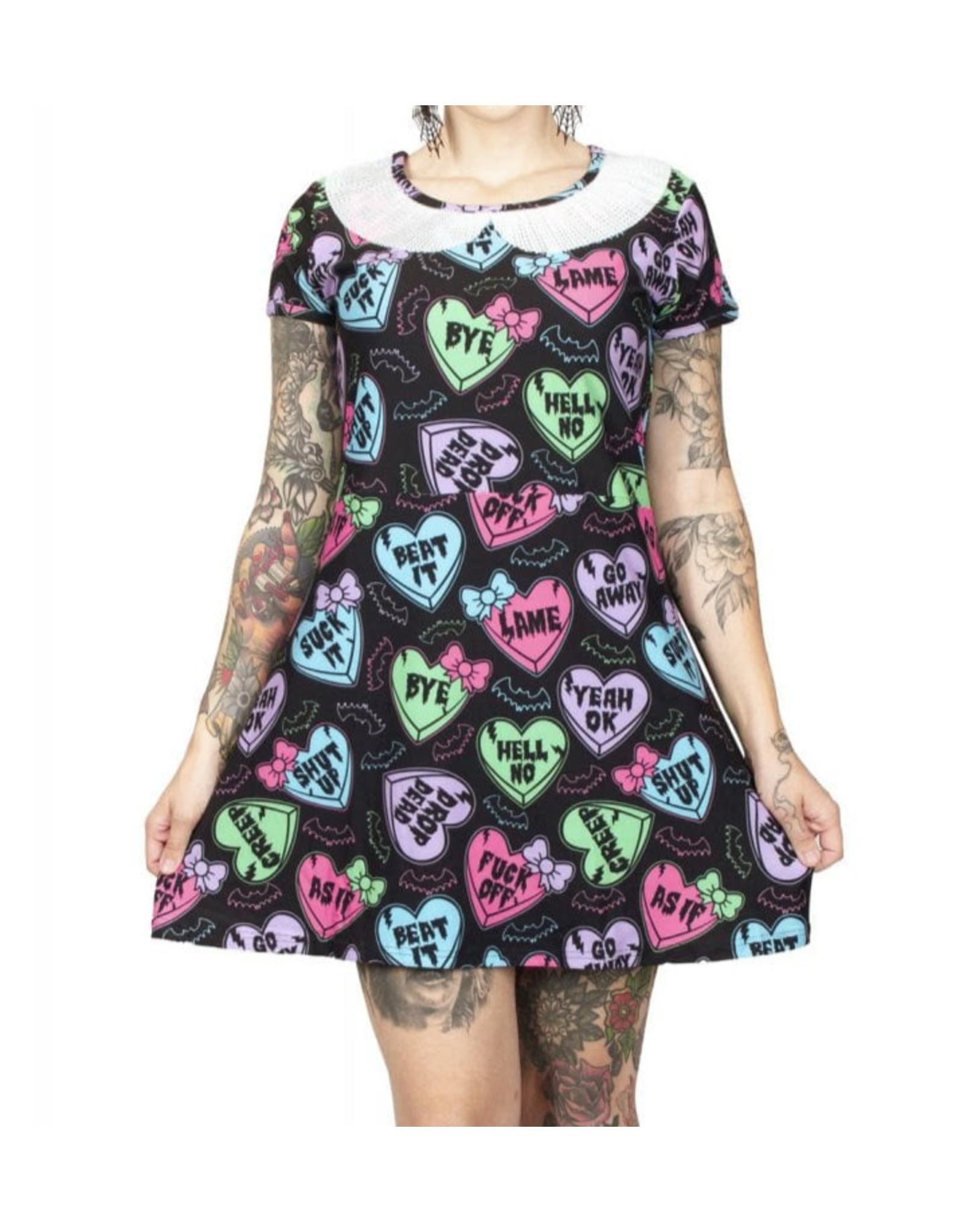 TOO FAST - Creepy Candy Heart A-Line Collar Mini Dress