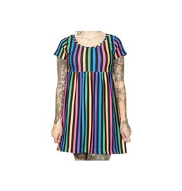TOO FAST - Rainbow Stripe 90's Baby Dolly Dress