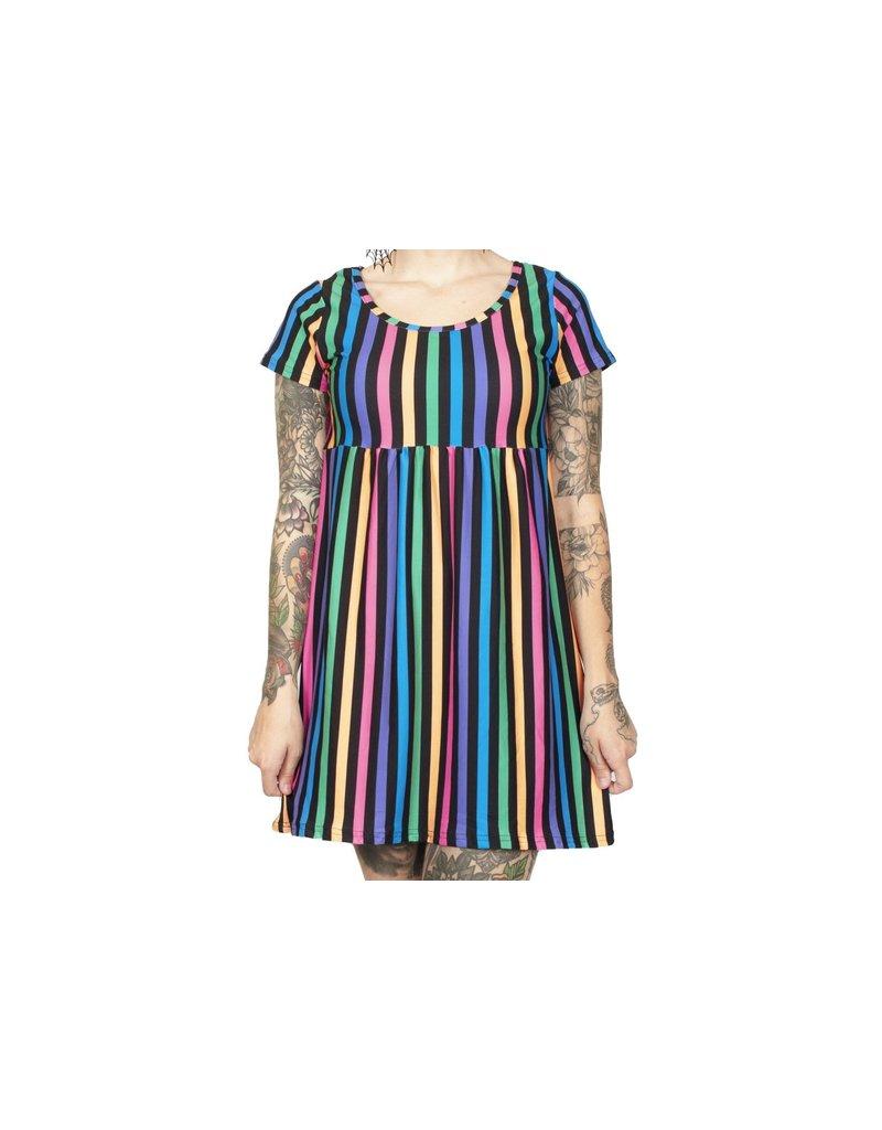 TOO FAST - Rainbow Stripe 90's Baby Dolly Dress