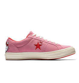 CONVERSE ONE STAR OX  SUEDE PRISM PINK/FIERY RED/EGRET HELLO KITTY C887HKF-162939C