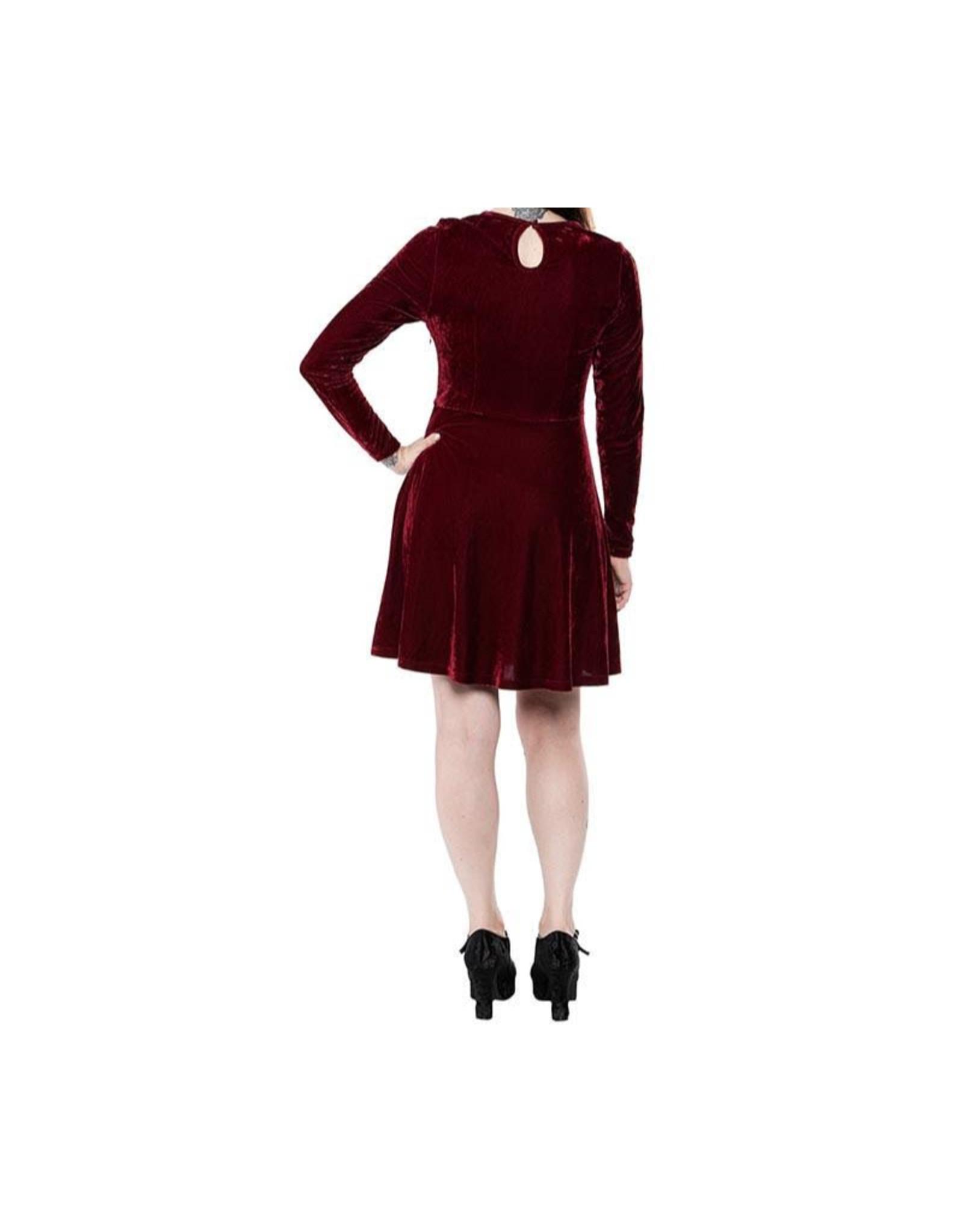 SOURPUSS - Mesh V Neck Dress Oxblood Velvet