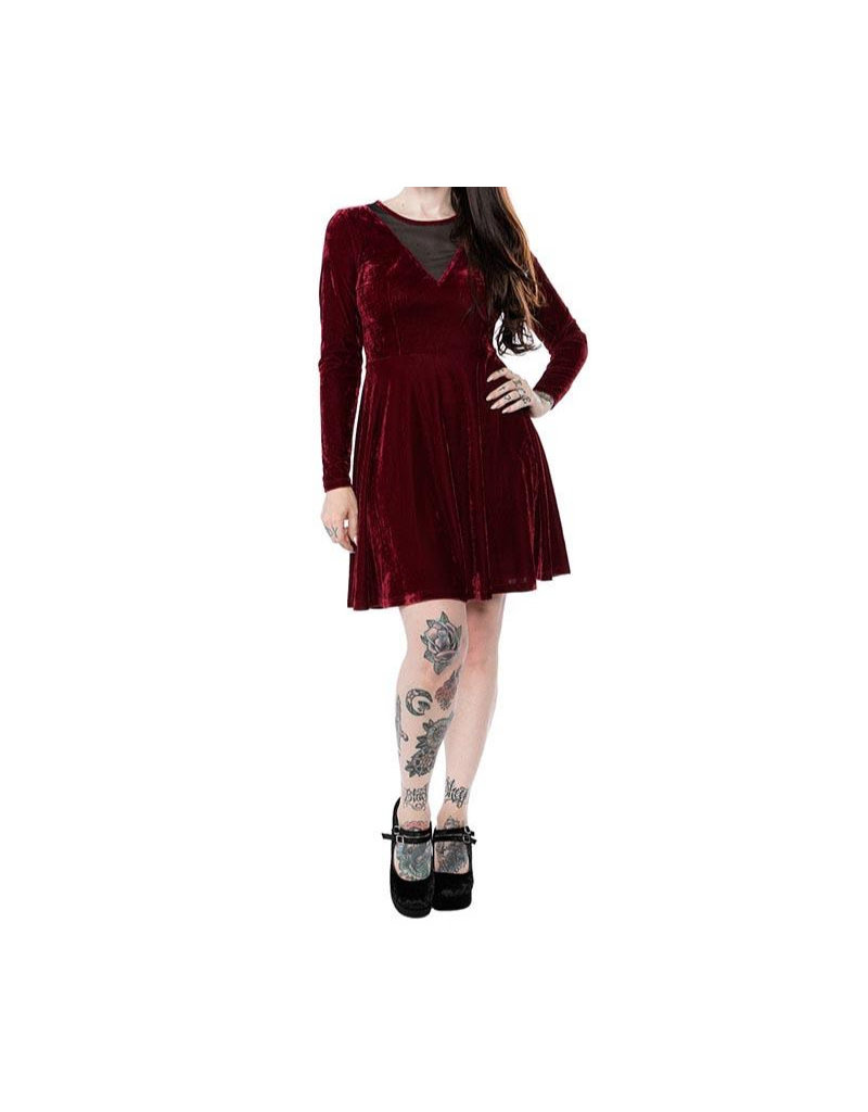 SOURPUSS - Mesh V Neck Dress Oxblood Velvet