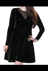 SOURPUSS - Mesh V Neck Dress Black Velvet