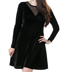 SOURPUSS - Mesh V Neck Dress Black Velvet