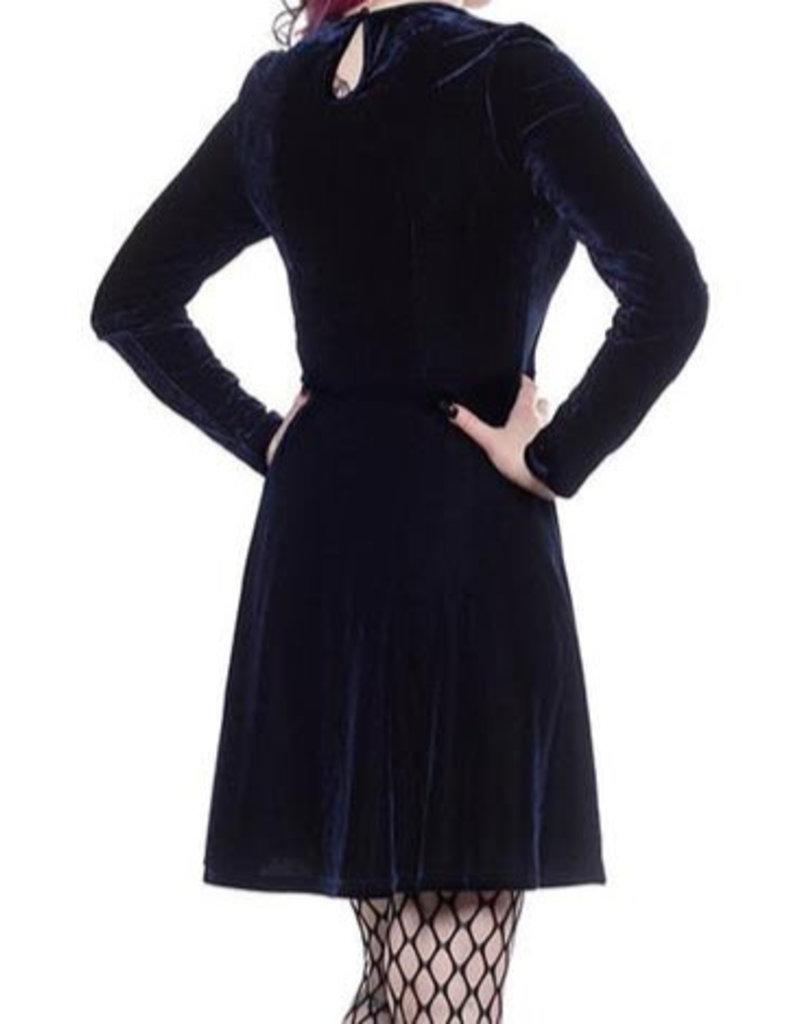 SOURPUSS - Mesh V Neck Dress Blue Velvet