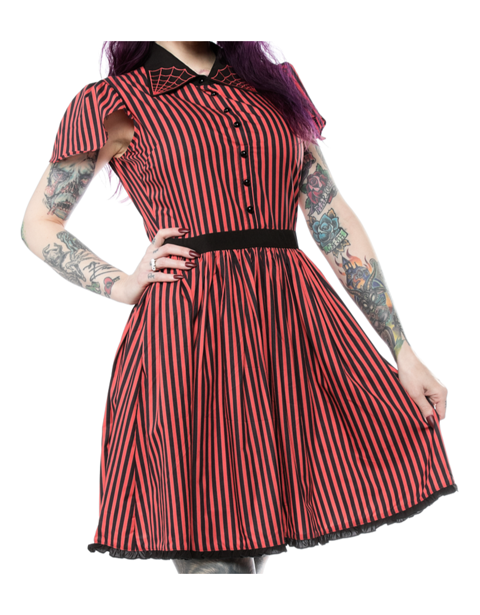 SOURPUSS - Striped Spiderweb Lydia Dress Red/Black